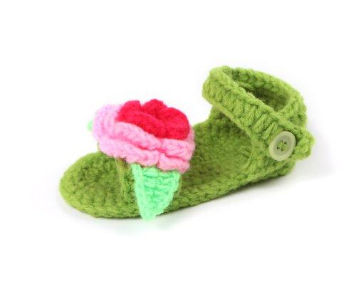 Yue Lian Baby Unisex Schuhe mit Rose Handgemachte Rutschfeste Strickschuhe Lauflernschuhe Grasig