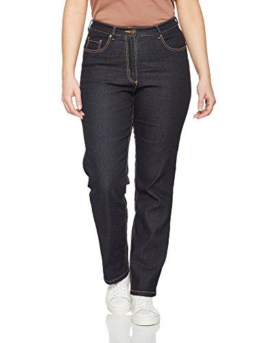 Ulla Popken Große Größen Damen Straight Leg Straight Jeans Jeans Regular Fit Stretch, K 70351693, Gr. 48 (Herstellergröße: 24), Blau (dunkelblau 93)