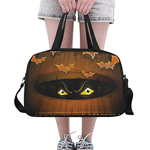 ry Eye Flying Bat Benutzerdefinierte große Yoga Gym Totes Fitness Handtaschen Reise Seesäcke mit Schultergurt Schuhbeutel für die Übung Sport Gepäck für Mädchen Herren Damen ()