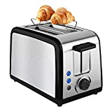 Toaster 2 Scheiben Edelstahl Automatik Toaster, Integrierter Brötchenaufsatz Breite Schlitze, mit Herausnehmbarem Tablett für Paniermehl, 7 Farbwähler, 800W, Auftau und Reheat Tasten