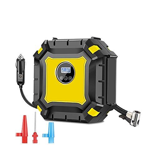 AOZBZ Tragbare Reifen-Luftpumpe mit Manometer, Digital, Auto-Luftkompressor 12V 100PSI, LED-Beleuchtung, Kabel für Auto Motorrad Basketball