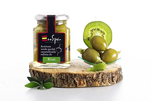 Grüne Oliven Gordal (groß) mit karamellisierten Kiwi gestopft. CAT: I- Größe 80-90.Gourmet Produkt. Nettogewicht 300 gr. -