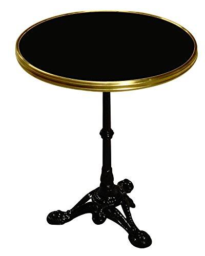 Table Guéridon Bistrot Paris Rd60cm Noir Cerclé Laiton