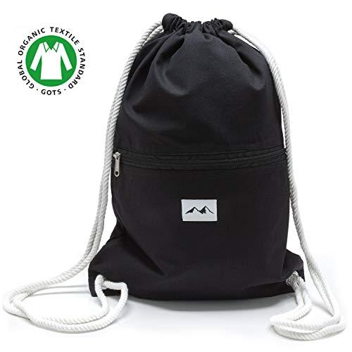 Santa Perago NEU Turnbeutel schwarz aus 100% Bio Baumwolle GOTS - als Sportbeutel oder Rucksack für Damen & Herren mit Außentasche und mit Reißverschluss - in 8 hochwertigen Designs -