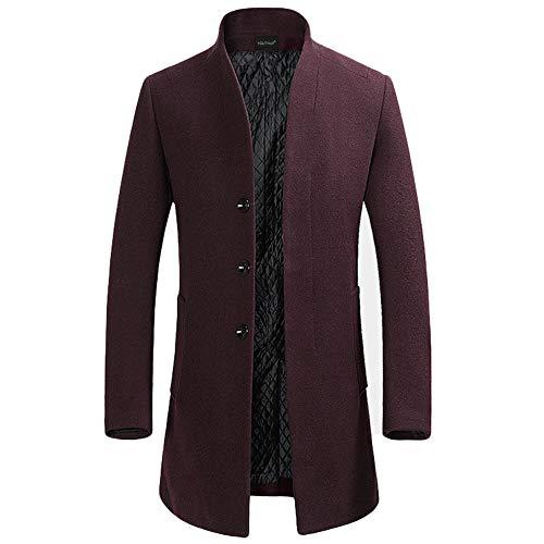 YOUTHUP Herren Wollmischung Mantel Slim fit Warmbody Windbreaker Business Winter Jacke, Rot(design 2), S