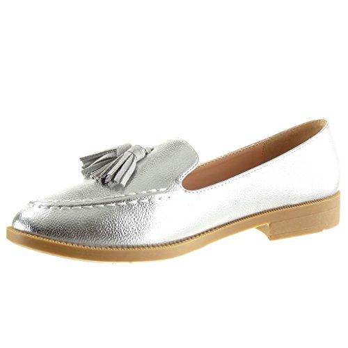 Angkorly - Chaussure Mode Mocassin slip-on femme grainé frange Talon bloc 2 CM Argent