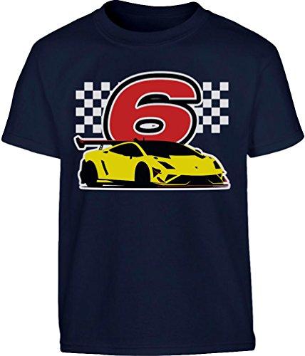 Geschenk für Jungs 6 Geburtstag mit Auto Kleinkind Kinder T-Shirt - Gr. 86-128 116/128 (5-7J) Marineblau (Geburtstag-kleinkind-t-shirt 5.)