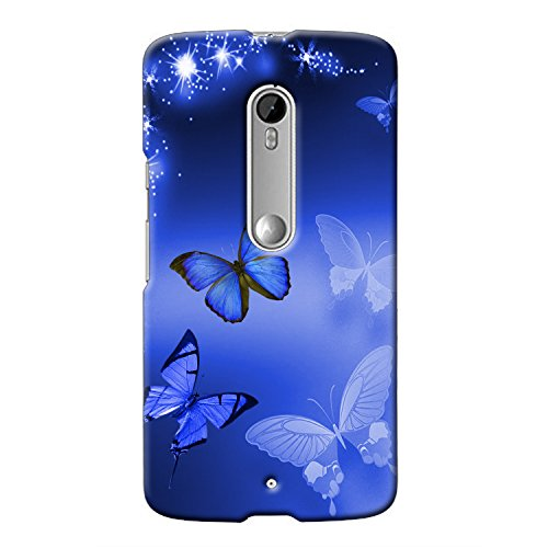 Clapcart Moto X Play Designer Printed Mobile Back Cover For Motorola Moto X Play -Blue Color (Butterfly)