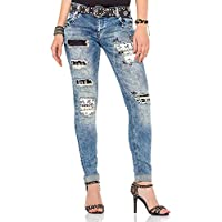 Cipo&Baxx WD339 Yamalı Taş İşlemeli Mavi Bayan Kot Pantolon