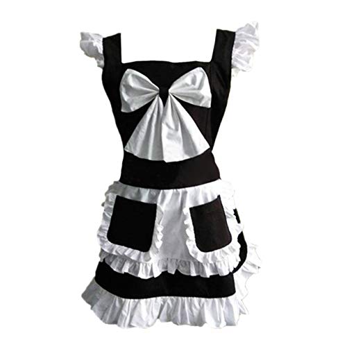 THEE Lovely Retro Kitchen Cooking Aprons for Women Ruffle Aprons Black (Cafe Dienstmädchen Kostüm)