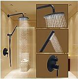Rubinetto doccia-rotondo olio-strofinato bronzo doccia sistema valvola in ceramica/ottone bagno doccia Miscelatore rubinetti