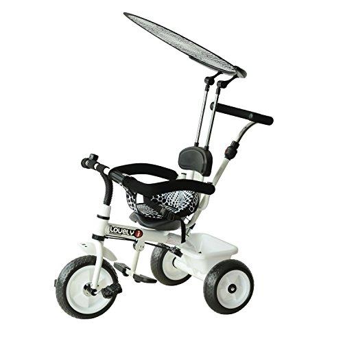 homcom Triciclo Deluxe con Maniglione, Parasole, Barra di Protezione in Metallo, 103 x 47 x 101cm