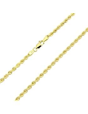 14 Karat / 585 Gold Kordelkette Gelbgold Unisex Kette - 3 mm. Breit - Länge wählbar