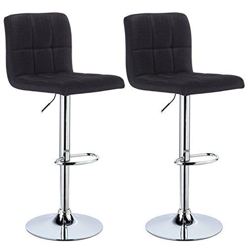 Woltu bh32sz-2 sgabelli da bar sedia cucina con schienale poggiapiedi tessuto di lino cromato altezza regolabile girevole moderno nero 2 pezzi
