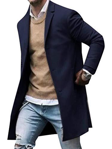 CuteRose Mens Notched Lapel Eco Fleece Fall Winter Trench Coat Jacket Blue XL -