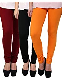 Anekaant Cotton Lycra Women's Legging Pack of 3 (Maroon, Black, Orange)