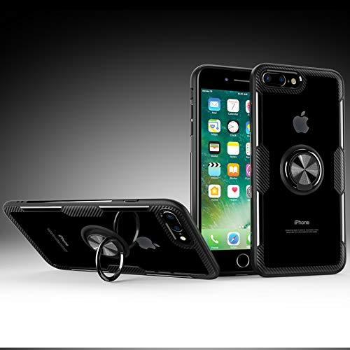 StarCity iPhone 8 Plus/iPhone 7 Plus Hülle, Ringhalter Kickstand 360 drehbar Clip Flexibler Gummi Bumper Rahmen Slim Hard Protective Back Clear Cover Case für iPhone 8 Plus/iPhone 7 Plus, schwarz Clear Cover Clip