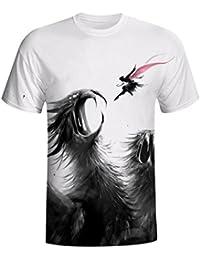 Rawdah Casual y Moda Blusa Impresa con Búho 3D Para Niños y Hombres Manga Corta de Verano Camisetas Top Tee Blusa