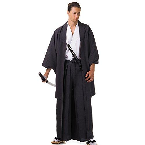 Princess of Asia Japan Samurai Kimono Set 3 Teile Kendo Gi + Hakama + Haori Baumwolle M L XL (Einheitsgröße, Schwarz & (Geisha Samurai Kostüm)