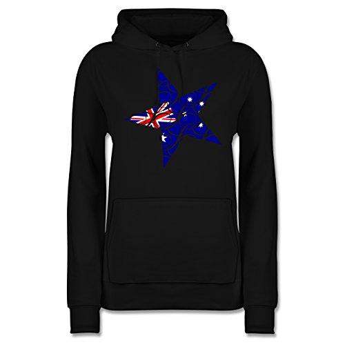 Länder - Australien Stern - L - Schwarz - JH001F - Damen Hoodie (Australien Hoodie)