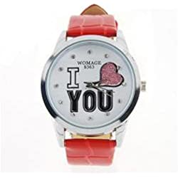 Red 'I Love You' glitter heart leather ladies fashion watch