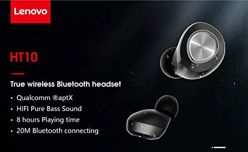 Lenovo HT10 True Wireless Earbuds Earphones Headphones (Bluetooth V5.0) in-Built Mic with Extra HD Sound AirBassRated IPX5 Waterproof and Sweatproof (Black) Image 8