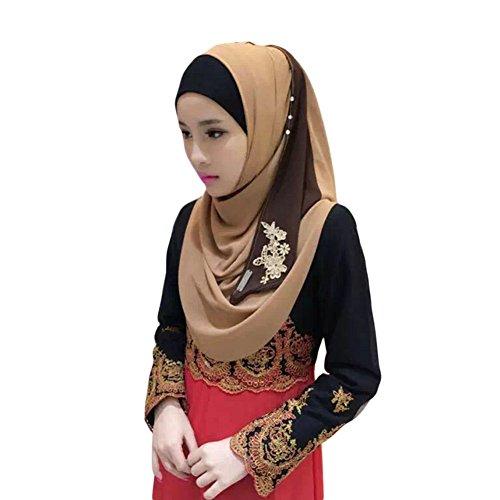 Meijunter Femmes Mode Muslim Écharpe Dentelle Broderie Épissure Arabian Coton Châle Hijab 08#