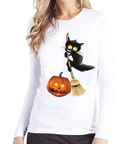 SHOBDW Damen Halloween Kürbis Schwarze Katze Drucken Sweatshirt Pullover Tops Bluse Shirt Frauen Plus Größe Trendigen Activewear Lauftraining Bluse