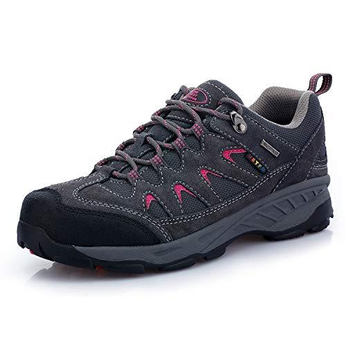 TFO Damen Trekking & Wanderschuhe Wasserabweisende und Atmungsaktive Outdoor Schuhe mit Rutschfester Sohle, Grau, 38 EU