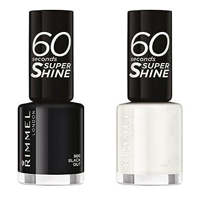 Rimmel London 60 Seconds Super Shine Nail Polish, Black Out - 8 ml & Rimmel London 60 Seconds Super Shine Nail Polish, White Hot Love - 8 ml Duo Set