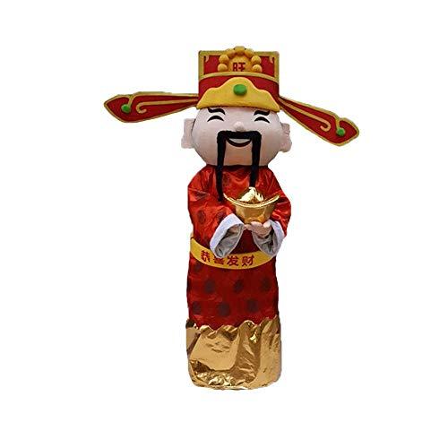chen Chinese God of Fortune Wealth Halloween Cosplay Kleidung für 1,65 m bis 1,85 m Erwachsene für Neujahr rot - rot - Einheitsgröße ()