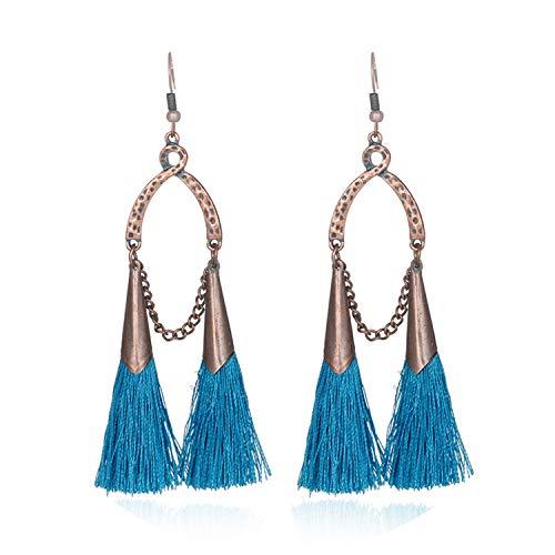 Braut Teen Kostüm - Lange baumelnde Vintage-Boho Ethnischen Troddel-Tropfen-Ohrringe für Frauen-Damen 2019 Schmuck Braut Kostüm-Ohrring-Dekorationen, Blau