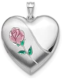 ICE CARATS 925 Sterling Silver 24mm Enameled Rose Photo Pendant Charm Locket Chain Necklace That Holds Pictures Ash Holder Fine Jewelry Gift Set For Women Heart