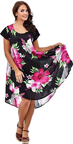Nightingale Collection - Robe - Trapèze - Manches Courtes - Femme Multicolore Bigarré Taille Unique Noir/rose
