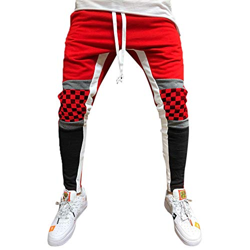 SANFASHION Herren Hosen Männer Spleißen Gitter Overalls Trainingshose Jogging-Hose Sport-Hose Casual Pocket Sport Arbeit Lässige Hose