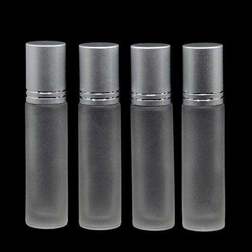 Asentechuk® 10 pcs 10 ml d'huile essentielle de verre Ambre épais Roll On vide Bouteille de parfum 10 CC en acier inoxydable Roller Ball