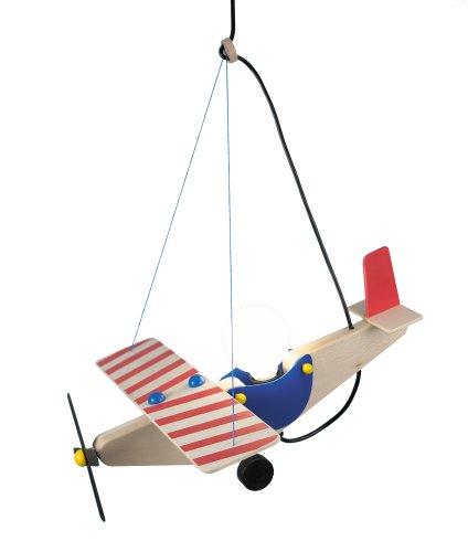 Niermann-Standby 188 - Holzflieger Pendelleuchte, 1 x E27 - 230V - max. 60 Watt , rot / blau / natur