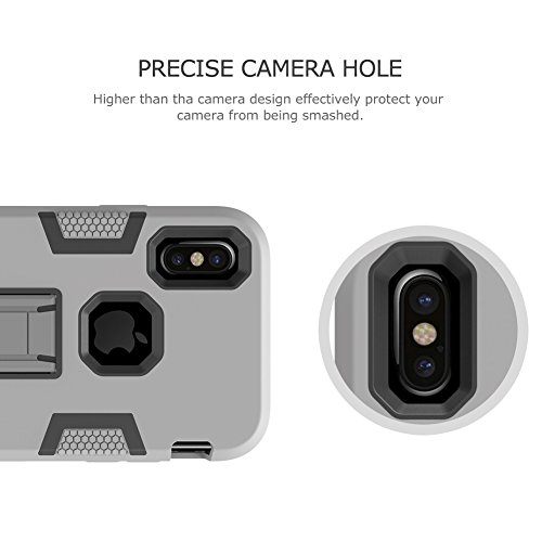 """iPhone X Armor Case, VMAE Heavy Duty Three Layer Robot Defender Cover Full Body 3in1 Shock Absorbing Silicone and PC Combo Protective Case Bumper With Stand for iPhone X/iPhone 10 5.8"""" - Grey Grey"""