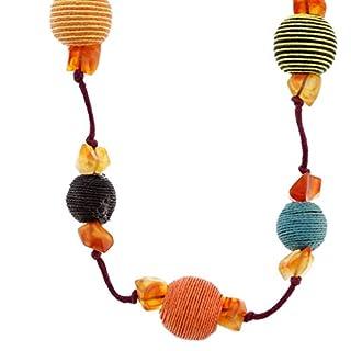 Lange Außergewöhnliche orange Halskette für Frauen mit bunten Perlen - Hübsche lange Halskette für Damen- Ungewöhnliche lange Halsketten