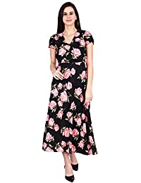 My Swag Women's Floral Printed Short Sleeves V Neck Maxi Dress