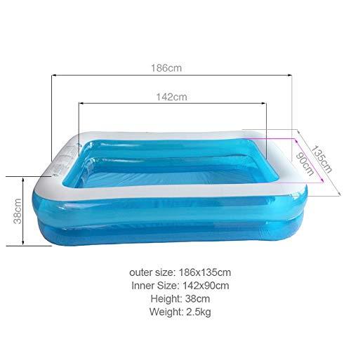 Piscina gonfiabile piscina blu gonfiabile trasparente fuori terra piscina rettangolare famiglia piscina adulti bambini bambino 186 * 135 * 38 cm