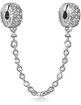 NinaQueen Liebe-Verbindung Sicherheitskette Sicherheits-Verschluss Stopper Damen-Charm 925 Sterling Silber Bead