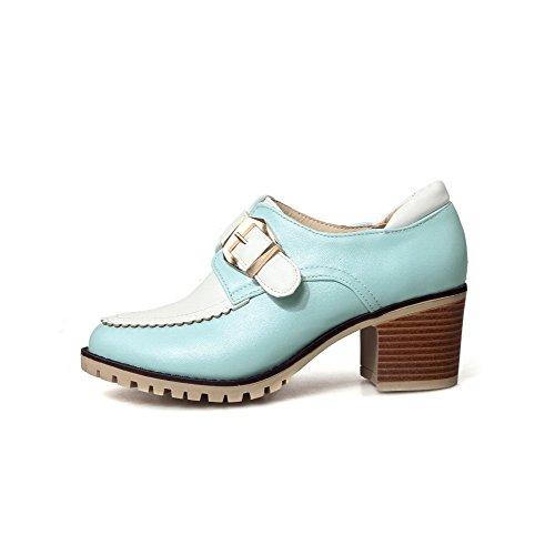 VogueZone009 Damen Mittler Absatz Schnalle Weiches Material Rund Zehe Pumps Schuhe Blau