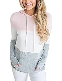 DOKOTOO Womens Triple Colorblock Tunic Sweatshirts Drawstring Hoodies Pullover with Kangaroo Pockets