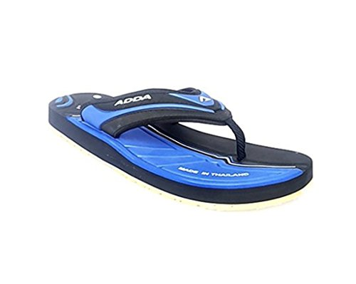 Adda Men's Black Royal Blue synthetic house slippers and Thong Sandals 9 uk  available at amazon for Rs.498