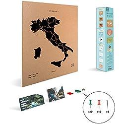 Miss Wood Carte d'Italie imprimée avec sérigraphie sur liège Naturel, Noir, L (45 x 60 cm)