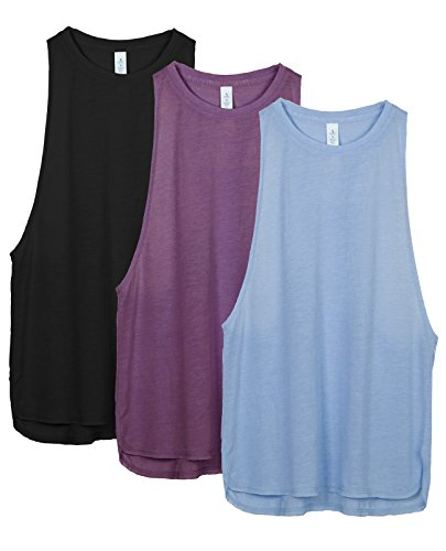 icyzone Sport Tank Top Damen Locker - Yoga Fitness Shirt Racerback Oberteile atmungsaktive (Black/Grape/Sky Blue, XL)