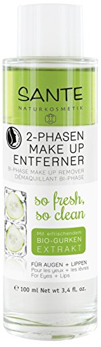 SANTE Naturkosmetik 2 Phasen Makeup Entferner, Entfernt Augen- & Lippen-Make-up,Vegan, Sanft & beruhigend, 2x100ml Doppelpack