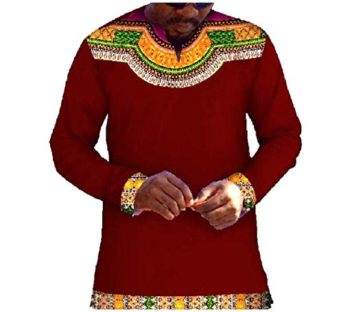 CuteRose Men Plus Size African Printed Patched Dashiki T-Shirt Top Tees jujube red 2XL Printed French Terry Hoodie