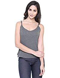 COA Womens Organic Cotton Chic Adjustable Spaghetti Strap Cami Top for Women with Back Cut-Out Design in Grey